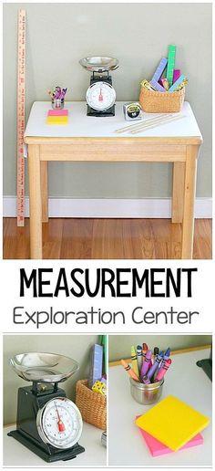 Hands-on Math for Kids: Measurement Exploration Center- Children can practice measuring with standard and non-standard units of measurement! Perfect for preschool and kindergarten! ~ BuggyandBuddy.com #mathforchildren