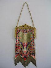 Art Deco 1920 Mandalian  Brass Metal Mesh Purple/Lavender Pink Enamel Bag Purse Collectible