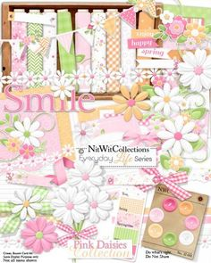 Cute pink Spring digital scrapbooking kit and card making kit. The perfect kit to create with for girls, Mother's Day and Spring themes!! ELS - Pink Daisies Collection from Nitwit Collections™ #cardmaking #digitalscrapbooking