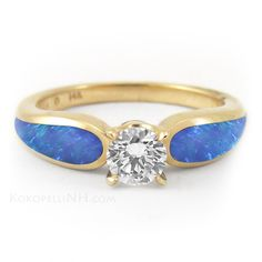 """Sunlit Sea - Radiance"" .5ct Diamond and Opal Engagement Ring"