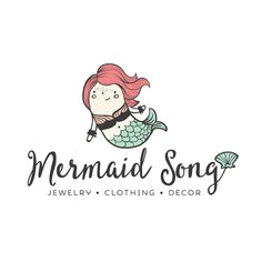 Premade Logo - Mermaid Premade Logo Design and Blog Header - Customized with Your Business Name!