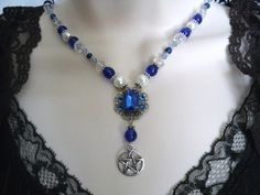 Saphire Glow Pentacle Necklace wiccan jewelry by Sheekydoodle, $32.00