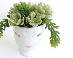 Face Vase Succulent Arrangement Face Vase Mother's Day