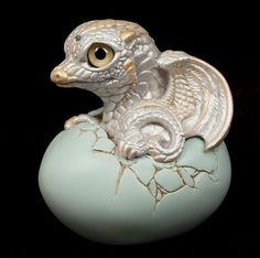 Hatching Dragon - version 2 - White. Painted Fantasy Figurine $44.00