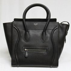 Celine Black Pebbled Leather Mini Luggage Tote Bag