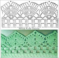 If you looking for a great border for either your crochet or knitting project, check this interesting pattern out. When you see the tutorial you will see that you will use both the knitting needle and crochet hook to work on the the wavy border. Crochet Boarders, Crochet Edging Patterns, Crochet Lace Edging, Crochet Diagram, Crochet Chart, Crochet Designs, Knitting Patterns, Crochet Flowers, Filet Crochet