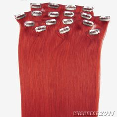 20''8pcs Clips on Straight 100 Remy Human Hair Extensions Red 100g with Clips | eBay
