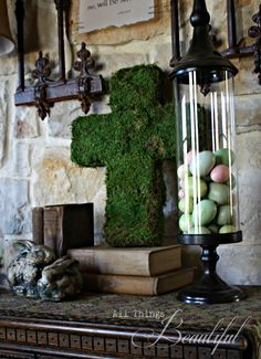 Easter Craft - Moss Cross (This calls for fake moss, but you could also make moss paint and watch it grow!)