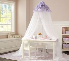 Addison  - Lavender Ruffle Canopy; reading corner in her room with an Anywhere Chair (PBK)
