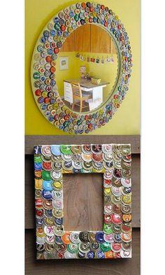 Tips para reutilizar corcholatas de botellas Bottle Cap Projects, Bottle Cap Crafts, Diy Bottle, Diy Arts And Crafts, Paper Crafts, Diy Crafts, Button Art, Button Crafts, Bottle Cap Art