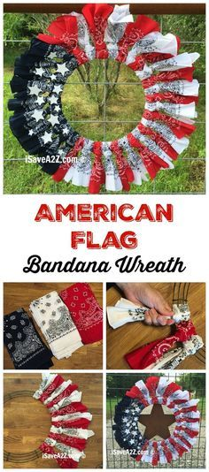 sweet red, white and blue bandana flag wreath
