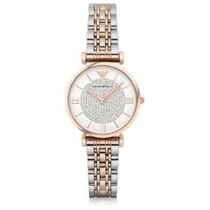 Emporio Armani Designer Women's Watches T-Bar Two Tone Stainless Steel... (3.655 DKK) ❤ liked on Polyvore featuring jewelry, watches, bracelets, silver, women's watches, dial watches, stainless steel wrist watch, emporio armani, two tone jewelry and pave jewelry