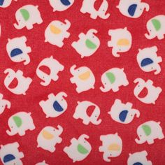 Tissu doudou éléphant  - Rouge