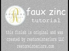Restore Interiors: Faux Zinc Tutorial - this is seriously cool!