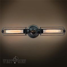 Westmenlights Double Arm Wall Sconce Mirror Metal Rustic Wall Lamp Fixture 2 Lights