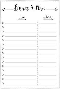 Free Printable spécial Bullet Journal Livres à lire - Books to read