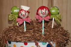 raggedy ann cake pops  red licorice for hair