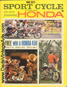 1966 Road Test's Sport Cycle Magazine featuring Honda – road tests of all models Vintage Honda Motorcycles, Grand Prix, Racing, Models, Pennies, Contents, Magazines, Sports, Cars