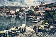 View of Batsi village | Maistrali Studios Andros Andros Greece, Crete Greece, Places In Greece, Greece Islands, Greece Travel, Holiday Destinations, Wonders Of The World, Places To Visit, Landscape