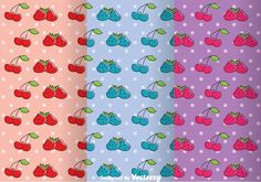 Fruits Girly Pattern Vectors 265607 -   Collection set of girly pattern with fruits strawberry and cherry.  - https://www.welovesolo.com/fruits-girly-pattern-vectors-2/?utm_source=PN&utm_medium=welovesolo%40gmail.com&utm_campaign=SNAP%2Bfrom%2BWeLoveSoLo