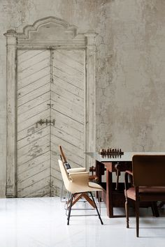 ❤ The effect of this door wallpaper ... It makes the space so different ...