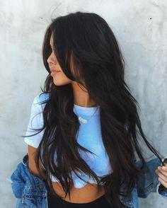 Hair Color Trends 2018 Best for 2018 afmunet hair color ideas for dark hair 2018 - Hair Color Ideas Hair Color For Black Hair, Cool Hair Color, Black Hair Layers, Layers For Long Hair, Layered Long Hair, Wavy Black Hair, Black Hair Cuts, Black Hair Fringe, Long Layerd Hair