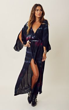 Angel Sleeve Maxi with Slits - Planet Blue - Blu Moon - Made in the USA