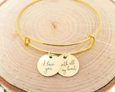 A beautiful bangle bracelet engraved with a handwritten message. You can use your own custom handwriting for the engraving on this bracelet!   Have this bangle bracelet personalized with any custom message in your own handwriting Personalized jewelry makes the perfect gift for so many occasions. Name Bracelet, Gold Bangle Bracelet, Gold Bangles, Bangles Making, 14k Gold Jewelry, Valentines Jewelry, Opal Gemstone, Or Rose, Personalized Jewelry
