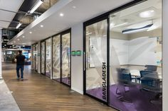 Oktra moved global charity organization, UNICEF, away from a traditional office layout and created a fresh and open space located in London, England. Office Layout Plan, Monospace, Traditional Office, Glass Partition, Co Working, Room Pictures, Learning Spaces, Window Film, Commercial Interiors