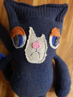 Grouchy Cat Wool Handmade Stuffed Animal Toy Lovey by LauraBlossom