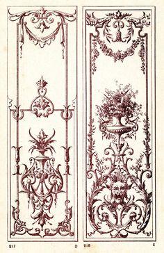 Motif Baroque, Baroque Art, Arabesque, Art Decor, Decoration, French Typography, Distressed Mirror, Ornaments Design, Pretty Patterns