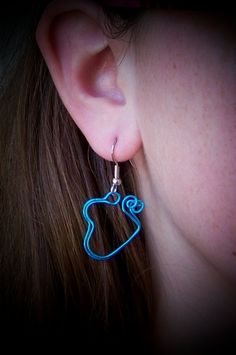 Earrings  Bright Blue Aluminum heart wire wrapped dangle by deleas, $12.00