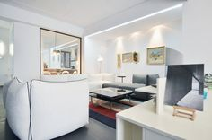 Apartment in Bucharest - Interior Design Work, Urban Architecture, Bucharest, Kitchen Living, Slate, Landscape Design, Relax, Shelves, Lifestyle