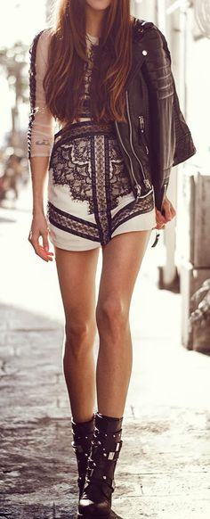 Embroidered Summer Dress Top Leather Jacket