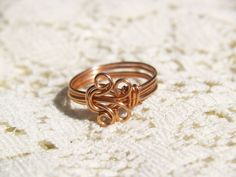 Copper Wire Wrapped Circles RingSize 7 by DesignsbyMeginley, $7.00