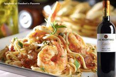 Harmonização: Spaghetti ai Gamberi e Pancetta com o vinho De Martino Reserva Legado Merlot. Clique e veja a receita.