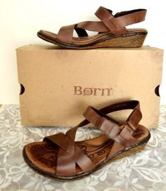 Born-Esmeralda-Leather-Boho-Wedge-Strappy-Sandals-9-40-5-Brown-Cute-Party-NEW