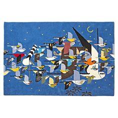 Land of Nod Charley Harper collection: Rug_Migrating_Birds_LL