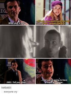 """""""'The Doctor & Rose Tyler. Yes, I will cry gladly, I shall cry rivers of tears!' 'Enough to fill two ponds?'"""" These are the comments on the pin I uses. Only this fandom. I'm going to cry enough to fill the TARDIS swimming pool Geronimo, Fandoms, River Of Tears, Serie Doctor, Rose And The Doctor, Doctor Who Rose Tyler, 10th Doctor, Don't Blink, Film Serie"""