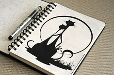 рисунок ручкой, графика, силуэт, кот, животное, пара, кошка, sketch