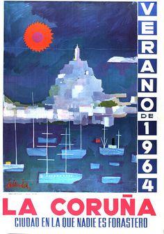 Cartel promocional para as festas de María Pita de 1964 na Coruña