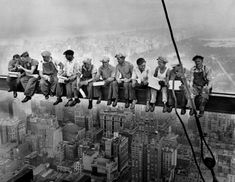 Lunch Atop a Skyscraper (1932) by Charles C. Ebbets.  It was taken during the construction of the RCA Building (renamed as the GE Building in 1986) at Rockefeller Center in New York City.