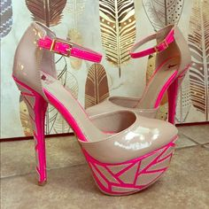 Pink & Tan Stilettos FUN Pink & Tan 6 inch stilettos, worn once, perfect condition!! Shoes Heels