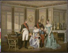 GIUSEPPINA RICEVE LA VISITA DELO ZAR ALESSANDRO I NEL 1814. CON LEI SONO I FIGLI EUGENIO ED ORTENSIA ED NIPOTI FIGLI DI ORTENSIA, DEI QUALI IL PIU' PICCOLO SARA' IL FUTURO NAPOLEONE III