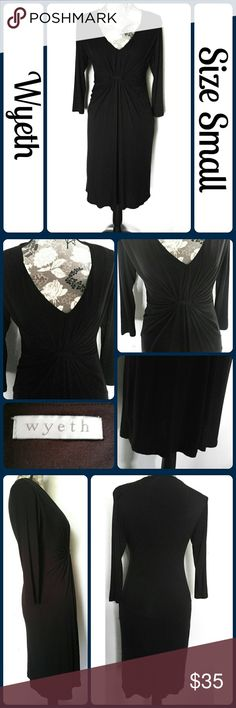 """Sz S Wyeth Black Dress, LBD So cute and perfect dressed up or down!  Brand new without tags. Fully lined, 95% Rayon, 5% Spandex. Across Bust 17"""", Length 39"""" from center back, Sleeve from armpit to end 14"""" Bought at Ann Taylor not long ago & never wore it. Jersey material. So comfortable and soft. Can be dressed up or down. Perfect for office or just meeting friends for brunch.  No rips, tears, or stains.... From a smoke-free, dog friendly home, No trades or off-site transactions!! (T93)…"""