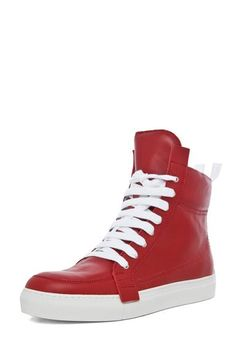 Kris Van Assche Hi Top Side Laced Sneaker for Men: This pair of red leather high tops from Kris Van Assche accent any outfit and make a statement Sneakers Looks, Lace Sneakers, High Top Sneakers, Leather High Tops, Red Leather, Top 10 Shoes, Suits You, Mens Fashion, My Style