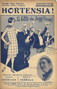 French song Jazz band score print poster - La fille du Jazz Band - Art deco 1920s. $11.00, via Etsy.
