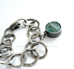 roman glass sterling silver bracelet by jolantakrajewska on Etsy, $260.00