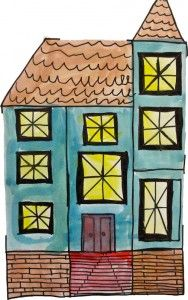 Painted victorian homes architecture art lesson- use historic Columbia landmarks for students to study and paint.