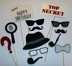 I design each photo prop to add color and design to any picture taken. My goal is to make you the life of the party and make every event a big hit. Hat, Mustaches, Pipes, Glasses, Top Secret signs and more. Detective Costume, Detective Party, Detective Crafts, Clue Party, Spy Party, Party Themes, Mystery Dinner, Mystery Parties, Themes Photo